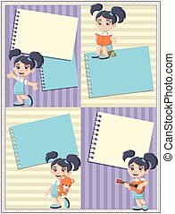 Card with a cute happy cartoon girl playing.