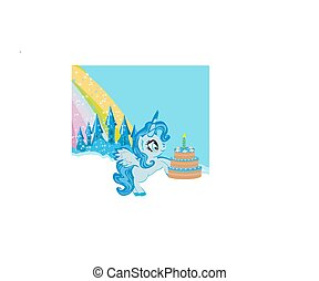 Card with a cute unicorn and birthday cake