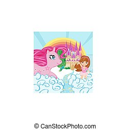 Card with a cute unicorn and sweet girl