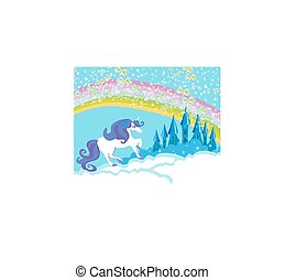 Card with a cute unicorn