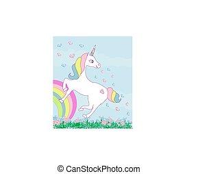 Card with a cute unicorn rainbow