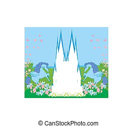 Card with a cute unicorns, abstract castle frame