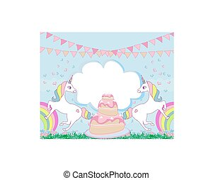 Card with a cute unicorns and birthday cake