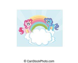 Card with a cute unicorns and rainbow