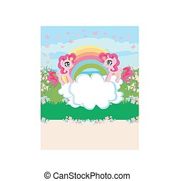 Card with a cute unicorns, rainbow and flowery meadow