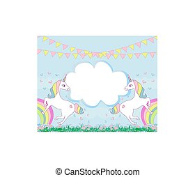 Card with a cute unicorns