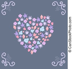 Card with a floral pattern and curl