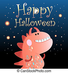 Card with a monster for Halloween