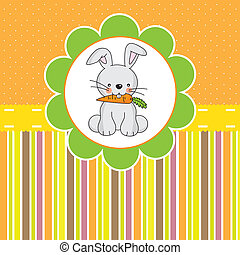 Easter card - Card with a rabbit eating carrot. Easter card