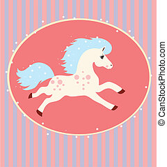 card with a running white horse