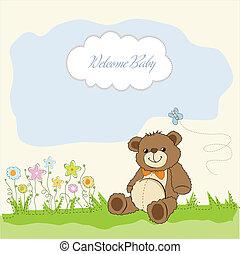 card with a teddy bear