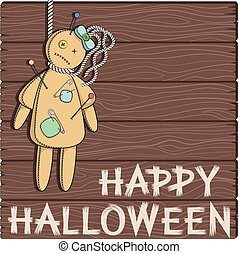 Card with a voodoo doll.