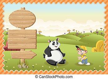 Cartoon boy playing with a panda bear on a green park.