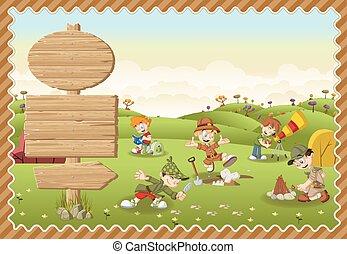Cute cartoon explorer boys on a green park.