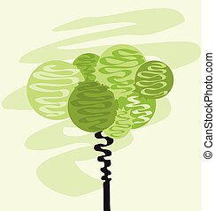 Card with abstracted stylized tree. Vector illustration