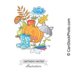 card with autumn objects and place for your text