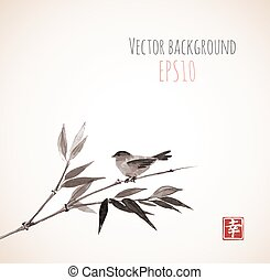 Card with bamboo and bird on vintage background