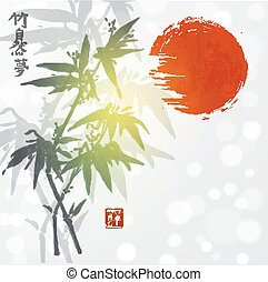 Card with bamboo and red sun