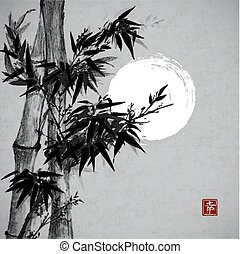 Card with bamboo and the Moon in sumi-e style. Hand-drawn with ink. Contains hieroglyph happiness