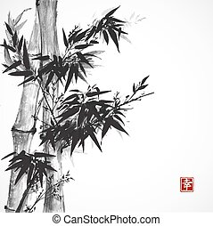 Card with bamboo in sumi-e style. Hand-drawn with ink. Contains hieroglyph happiness