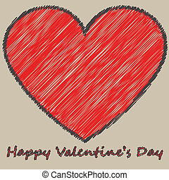 Card with big heart - Valentine's card with big hand-drawn...