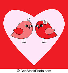Card with birds in love and heart