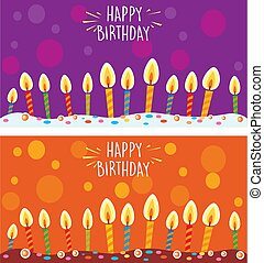 Card with birthday cake and candles.