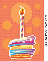 Card with birthday cake and candles