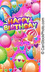 Card with Birthday Party Elements