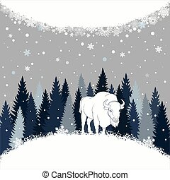 Card with bison on the forest background and snow. Winter...