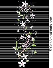 Card with blossoming oriental cherry branch