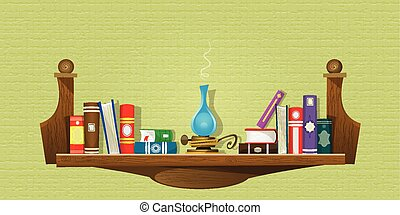 Card with books on bookshelves