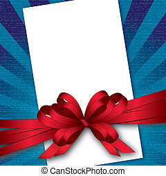 card with bow and textured background, vector illustration, ...