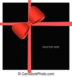 card with bow vector red on black