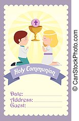 card with boy and girl to first communion