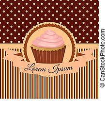 card with cake, ribbon label, brown