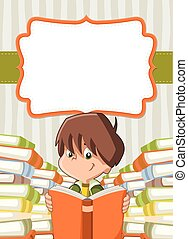 Card with cartoon boy reading books.