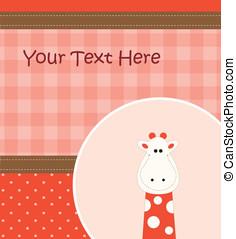 Card with cartoon giraffe