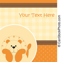 Card with cartoon lion