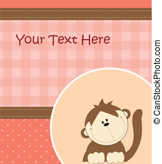 Card with cartoon monkey