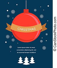 card with Christmas ball and seasonal objects