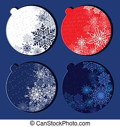 Card with Christmas balls and snowflakes. Christmas balls on a blue background.