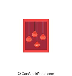 card with christmas balls hanging
