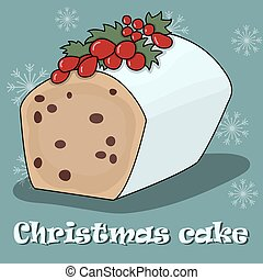 Card with Christmas cake on a blue background.
