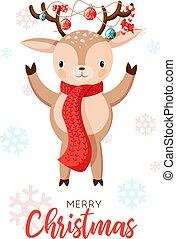 Card with christmas santa reindeer. Cartoon deer with garlands on the horns