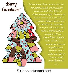 Card with christmas tree on paper and place for text -...