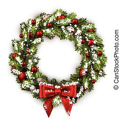 White card with Christmas wreath and bow. illustration.