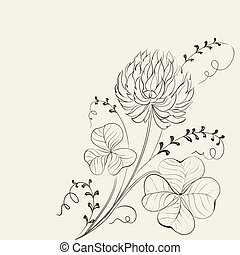 Card with clover leaves and flower in sepia tones....