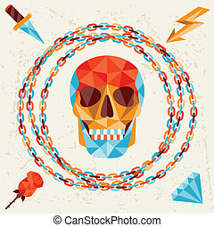 Card with colored geometric skull.