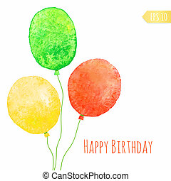 Card with colored watercolor paint balloons. Vector isolated...
